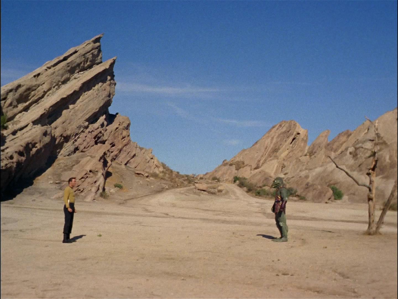 Kirk und der Gorn duellieren sich in den Vasquez Rocks. Screencap: Trekcore.com