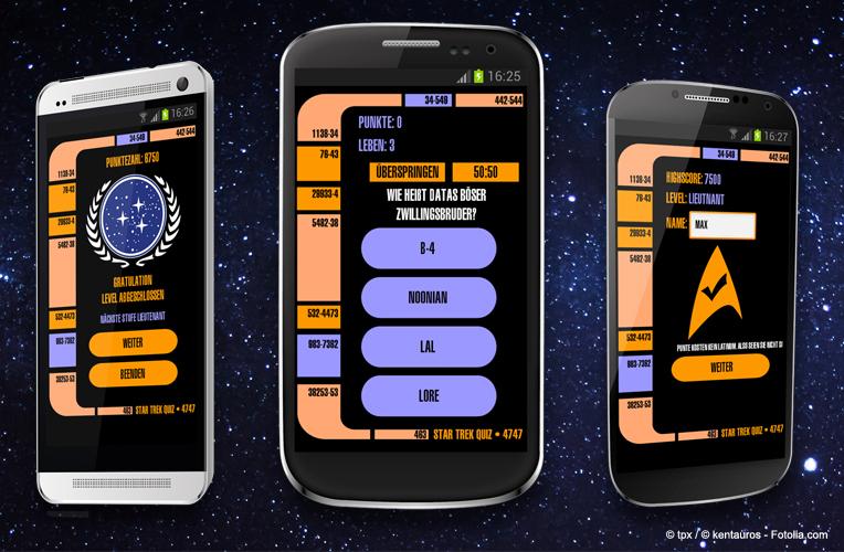 Die Gestaltung der App ist an dem LCARS-Design angelehnt.
