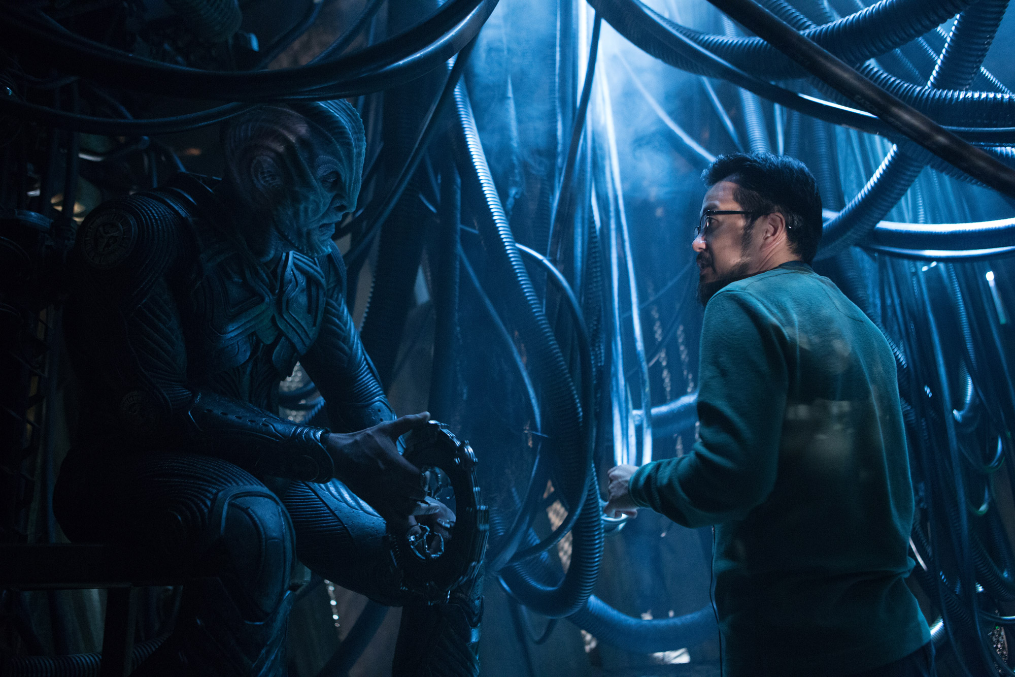 Idris Elba (Krall) am Set mit Regisseur Justin Lin. Foto: Paramount Pictures
